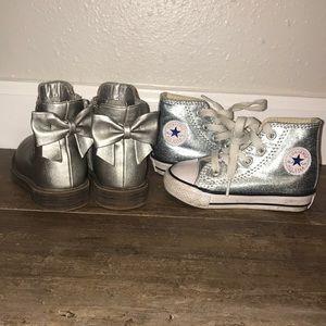 Converse & cat and jack silver shoe bundle 💕